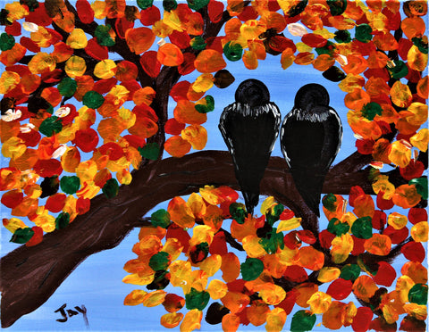 Autumn Lovebirds Acrylic Painting Kit & Video Lesson
