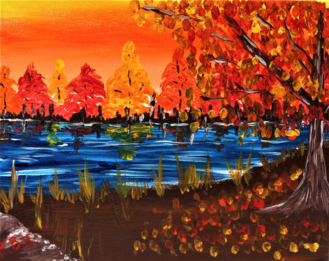 Autumn Pond Acrylic Painting Kit & Video Lesson