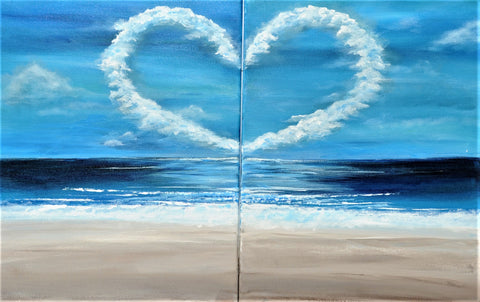 Beach Love Acrylic Paint & Sip Kit For One or Two