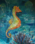 Bubbles the Seahorse Acrylic Painting Kit & Lesson