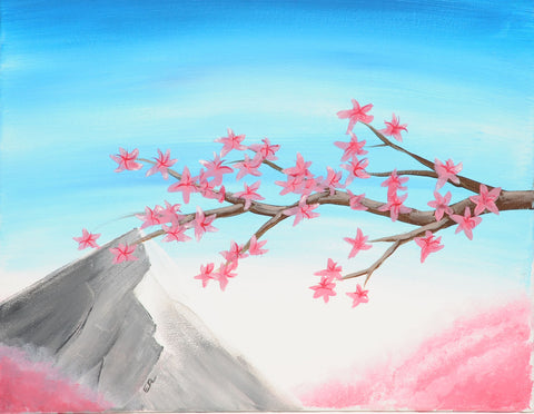 Fuji Cherry Blossoms Acrylic Paint & Sip Kit