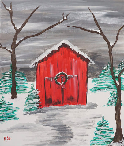 Christmas Barn Acrylic Kit & Lesson