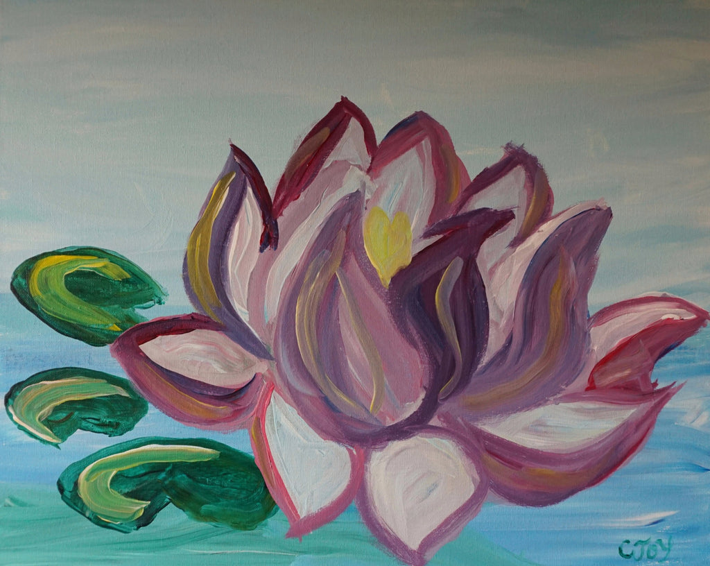 Floating Lotus Acrylic Painting Kit Lesson Paintlyfun