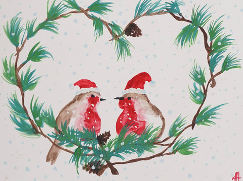 Holiday Love Birds Watercolor Painting Kit & Lesson