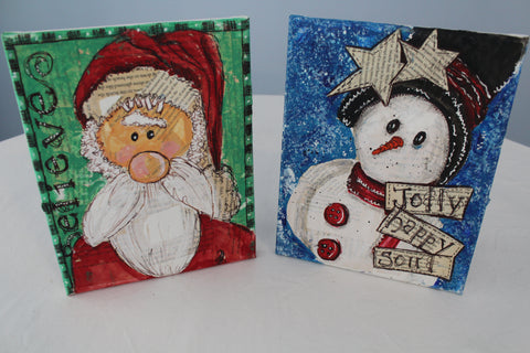 """Men of Christmas"" Paint & Sip Mixed Media Kits"