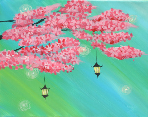 Lanterns in Bloom Acrylic Paint & Sip Kit