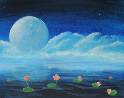 Lilies Dancing In The Moonlight Acrylic Paint & Sip Kit