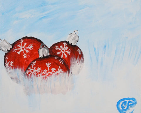 Ornaments in the Snow Acrylic Painting Kit & Lesson