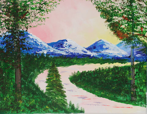 Rossy Mountain Peaks Acrylic Paint & Sip Party Kit