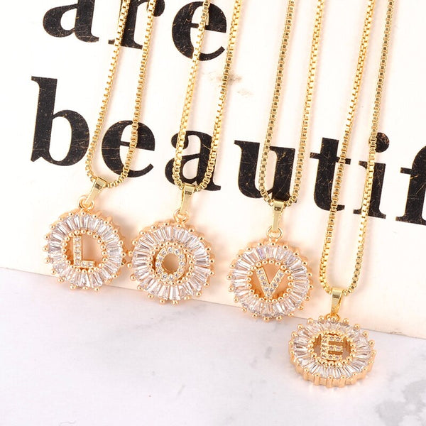 *Round Rhinestone Initial Necklace