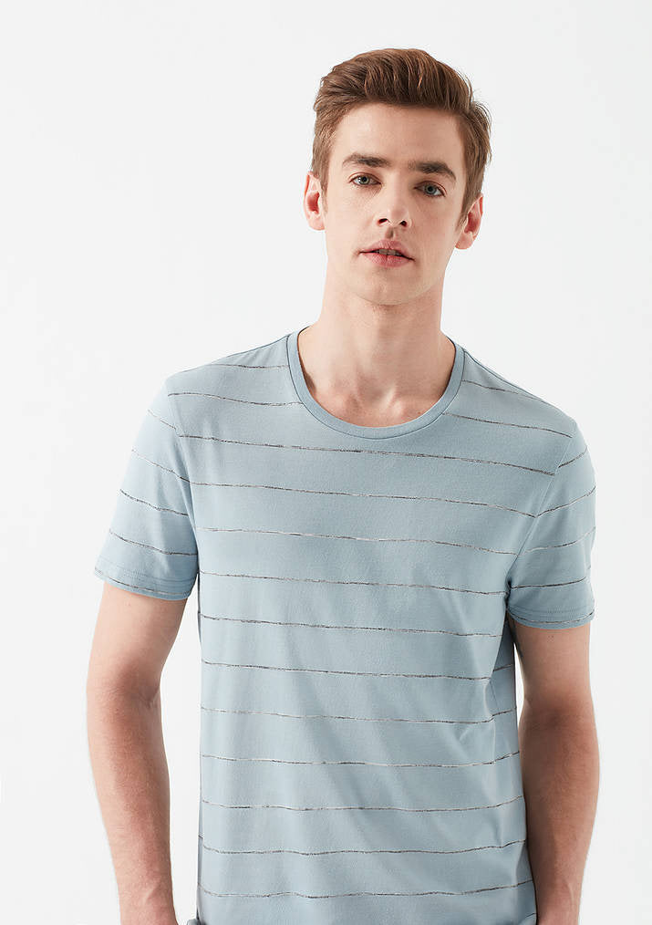 Mens Striped Crew Neck T-Shirt in Blue