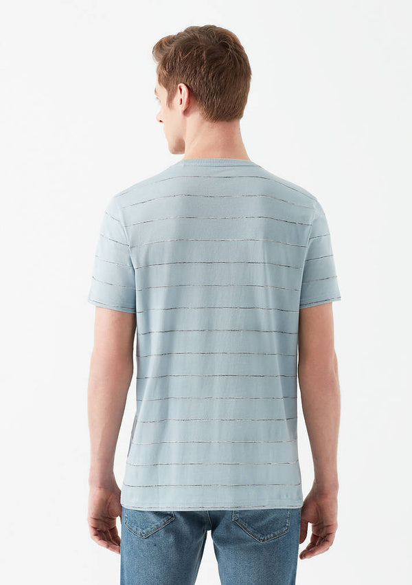 Mens Striped Crew Neck T-Shirt in Blue - Mavi Jeans
