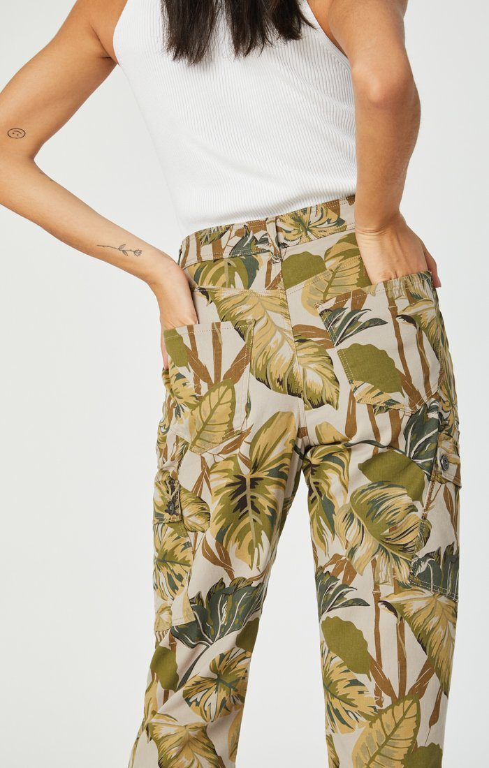 Denise High Rise Cargo Pant in Safari Twill