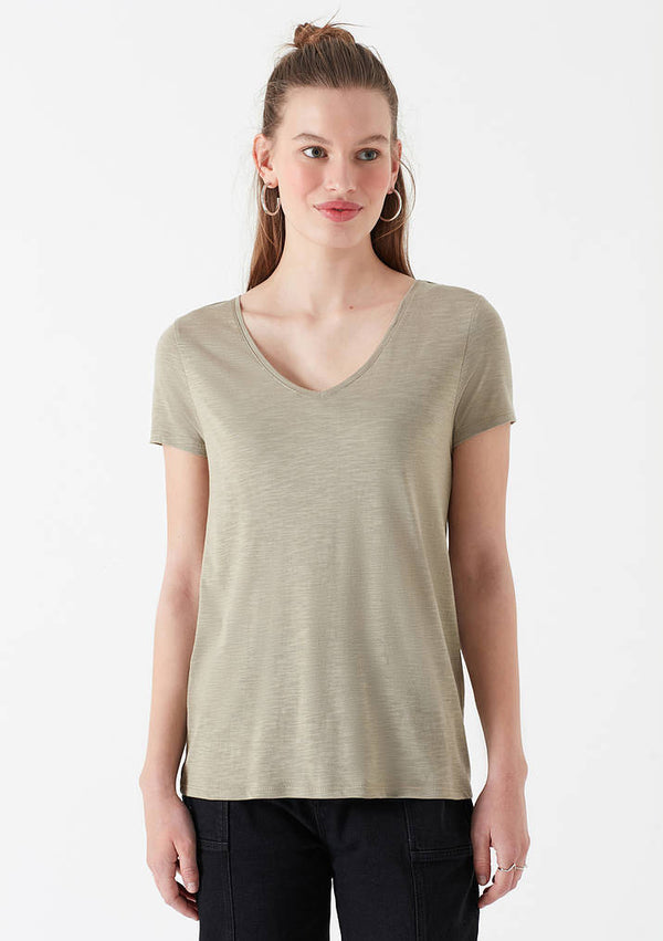 Womens V-Neck T-Shirt in Cement - Mavi Jeans