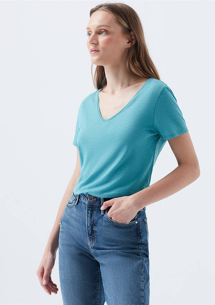 Womens V-Neck T-Shirt in Jade