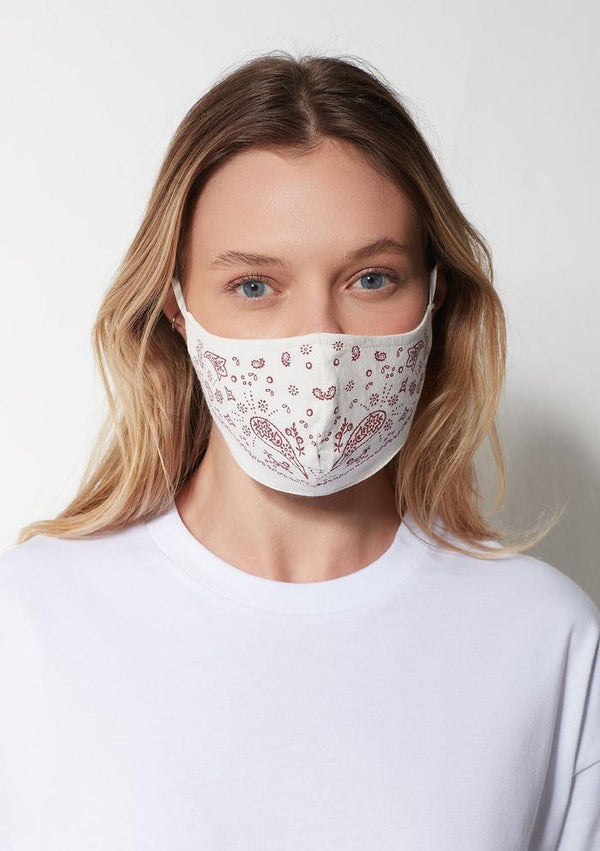 Women's Face Mask in Cream / Red Paisley - Mavi Jeans