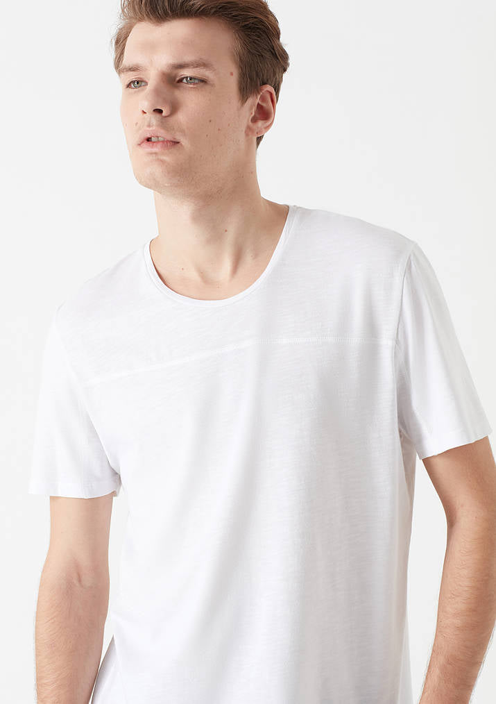 Mens Casual Crew Neck T-Shirt in White
