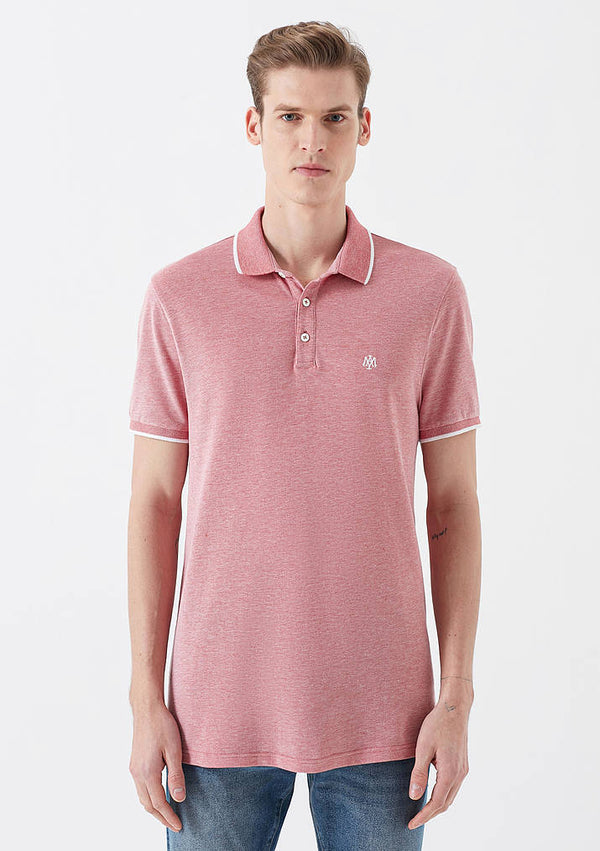 Mens Short Sleeve Polo Shirt in Red - Mavi Jeans