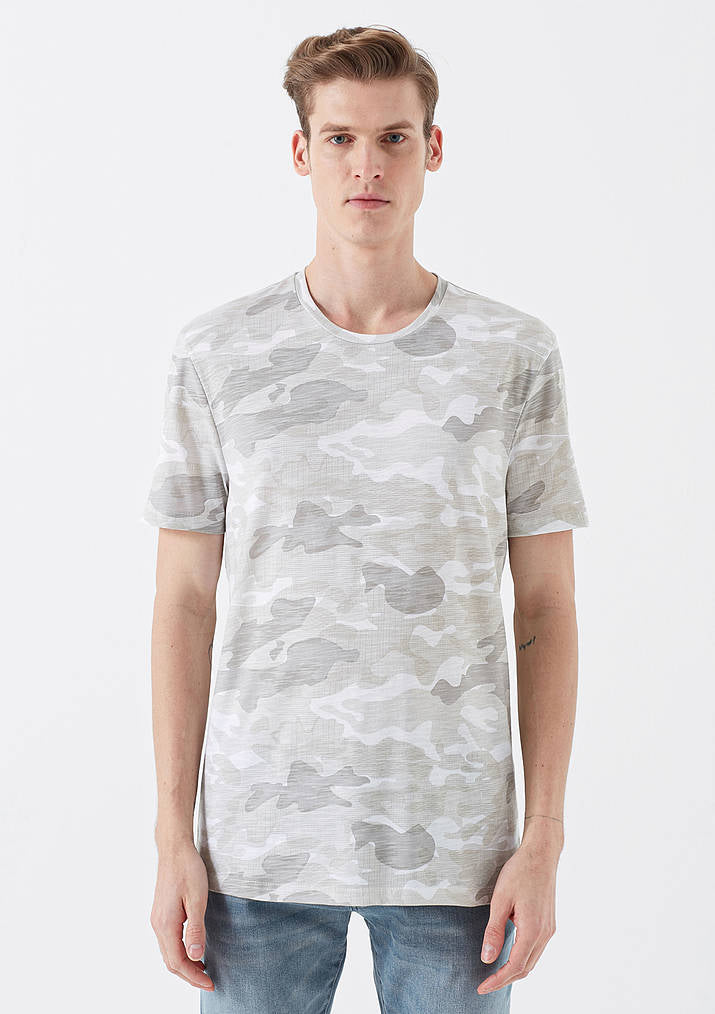 Mens Printed Crew Neck T-Shirt in White Camo