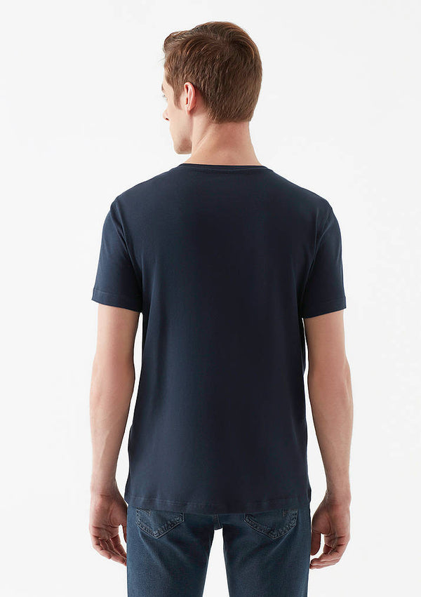 Mens Striped Crew Neck T-Shirt in Navy Blue - Mavi Jeans