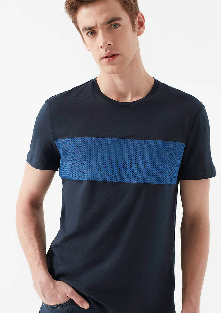 Mens Striped Crew Neck T-Shirt in Navy Blue