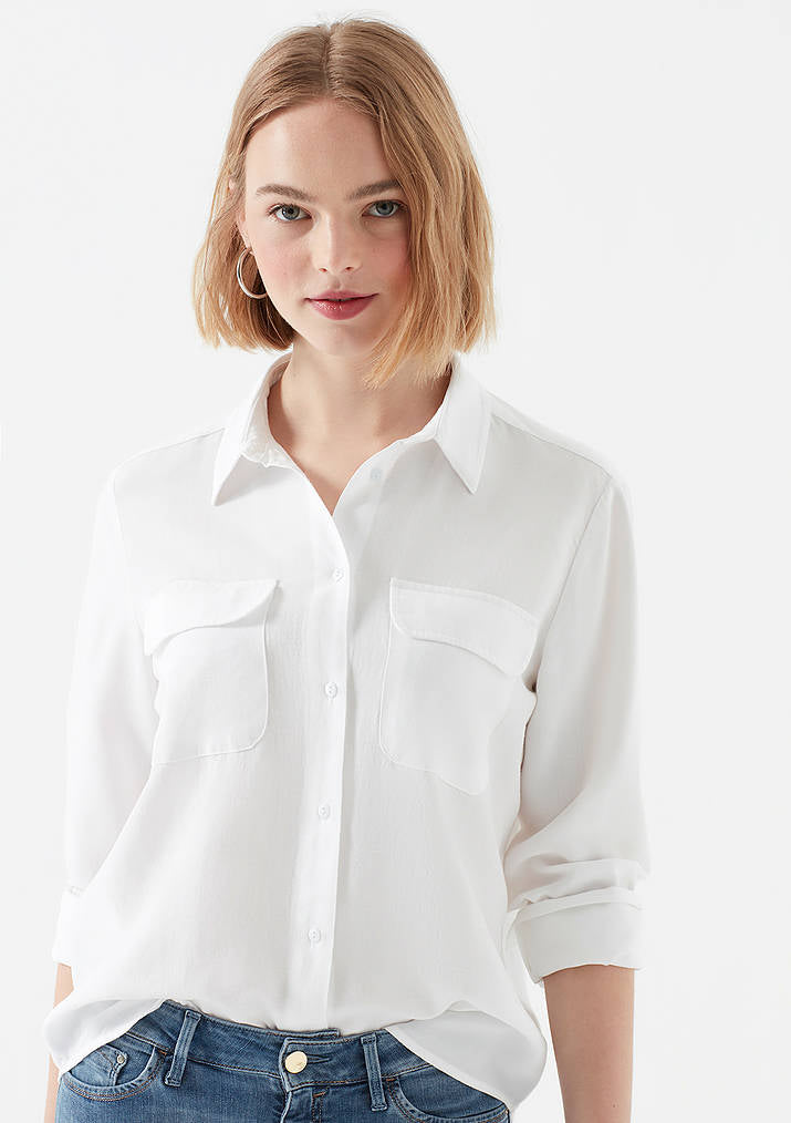Womens White Lyocell Shirt