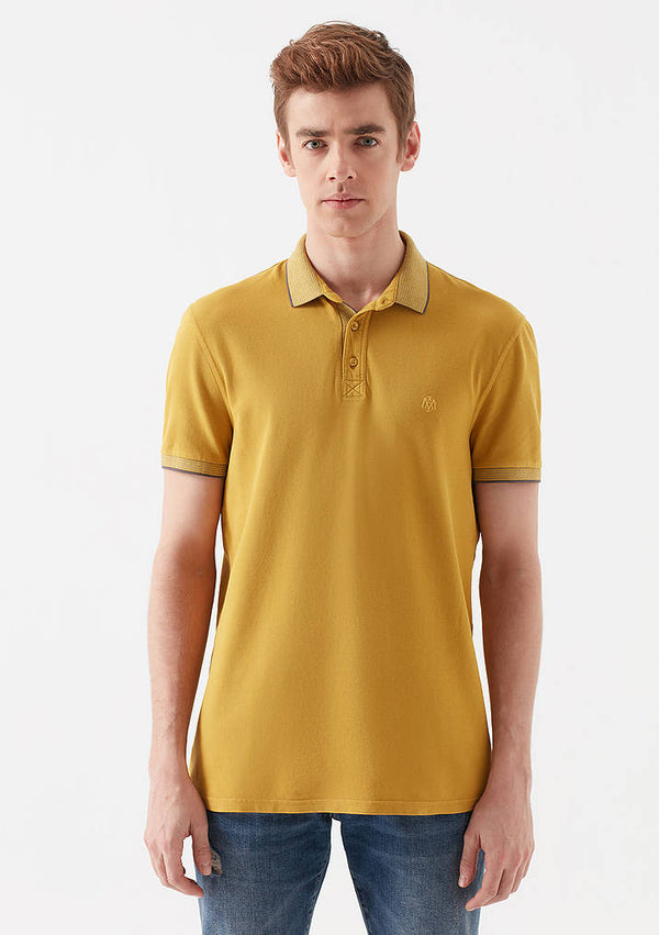 Mens Short Sleeve Polo Shirt in Dark Yellow - Mavi Jeans