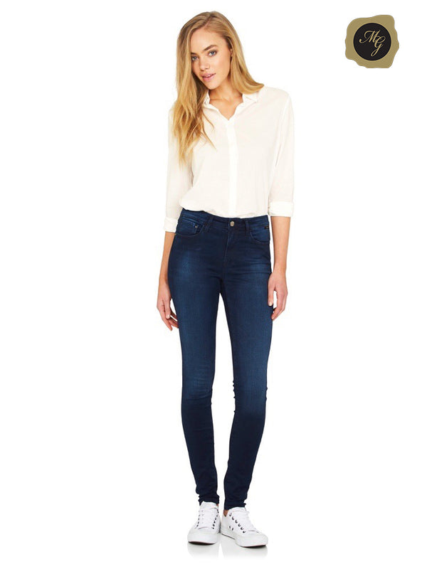 Alissa Skinny in Ink Blue Gold Feather - Mavi Jeans