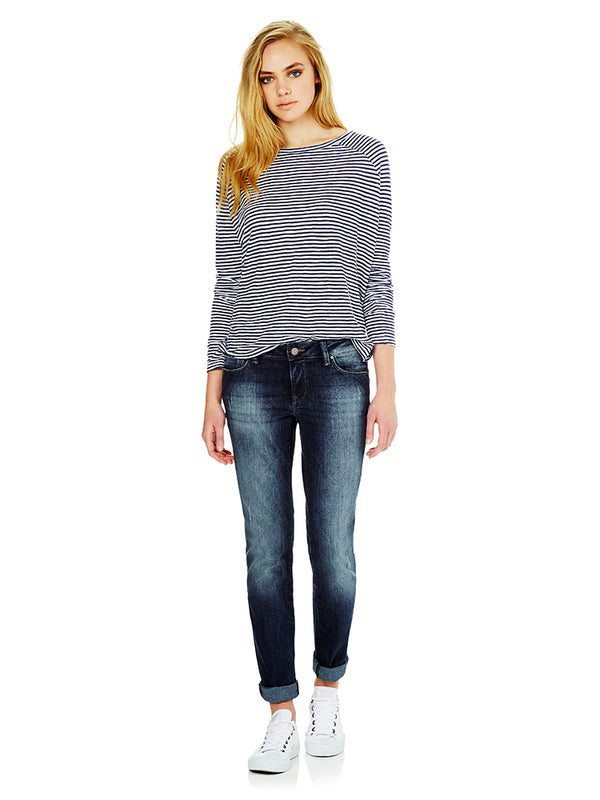 Emma Mid Rise Slim Boyfriend Deep Shaded Tribeca - Mavi Jeans