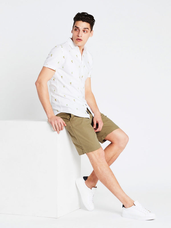 Shirt Short Sleeve White Boat Print - Mavi Jeans