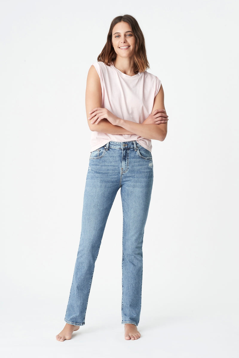 Veronica Slim Straight Jeans in Light Recycled Blue