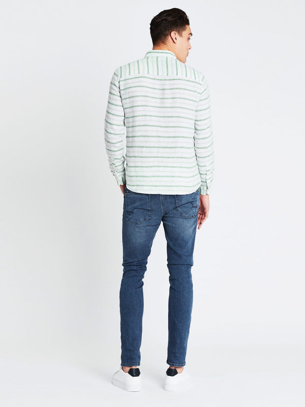 Linen Shirt Long Sleeve White Green Stripe - Mavi Jeans