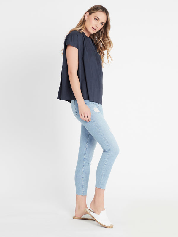 Sheridan Henley Swing Top in Navy - Mavi Jeans