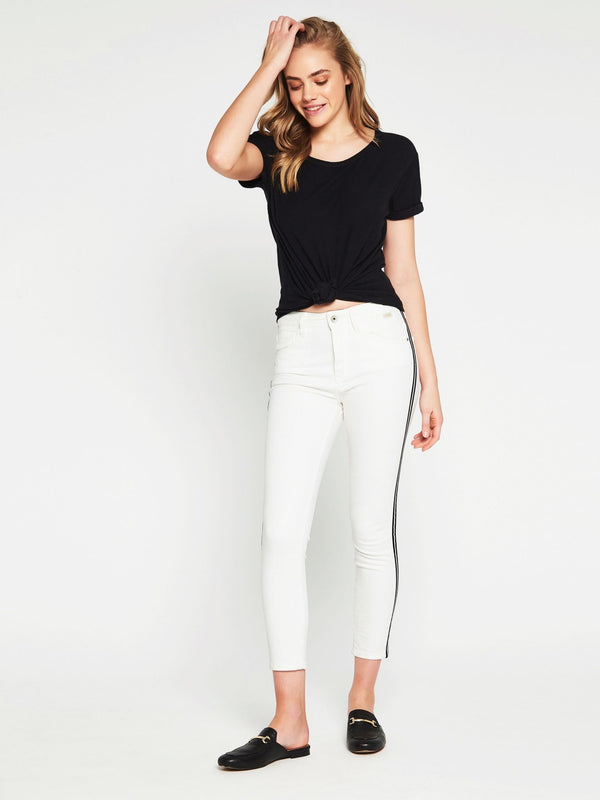 Tess High Rise Super Skinny Ankle White Stripe Denim - Mavi Jeans