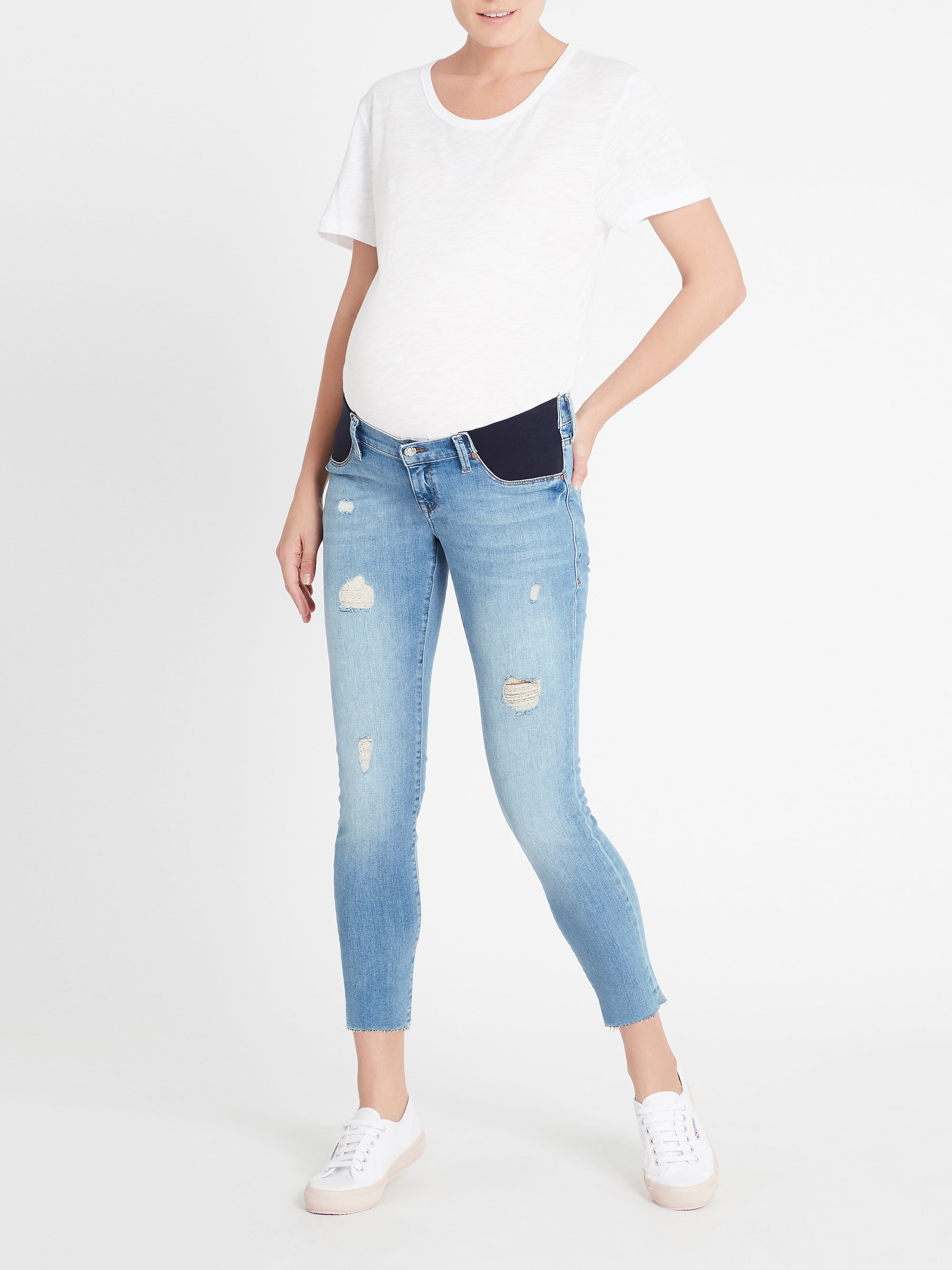 Reina Ankle Skinny Maternity Jeans in Light Ripped Vintage