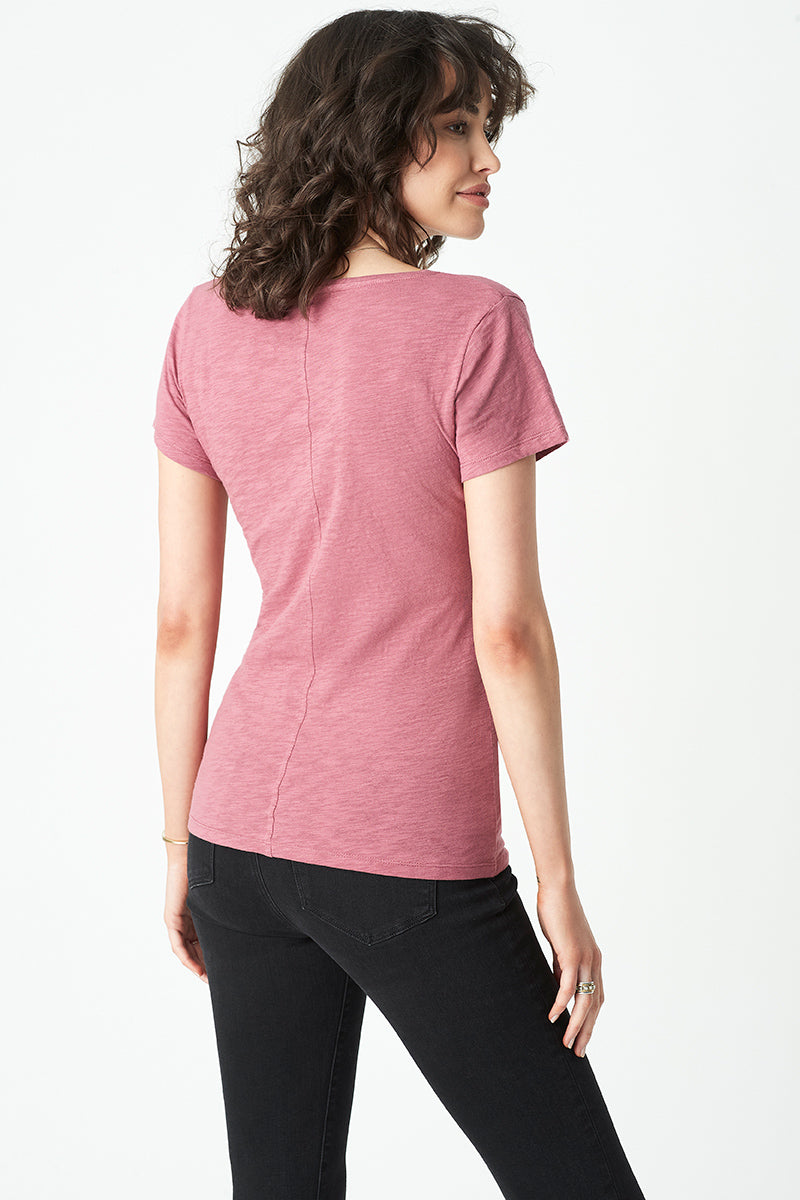 Luna V Neck T-Shirt in Smokey Crimson