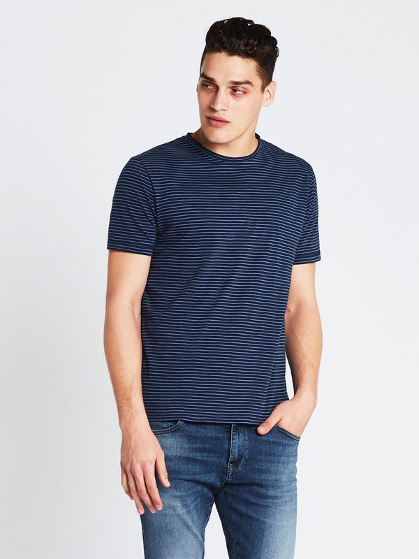 Liam Short Sleeve T-Shirt Navy Mid Blue Stripe - Mavi Jeans