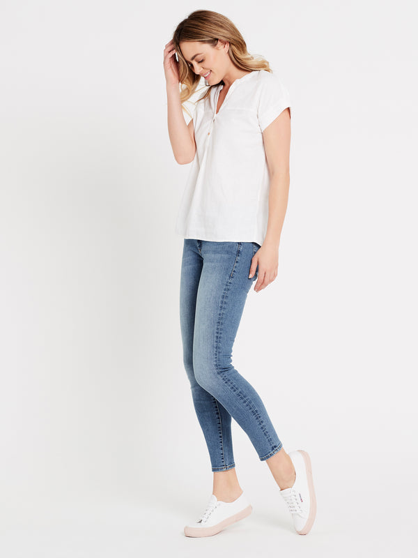 Womens Short Sleeve Linen Blouse White - Mavi Jeans