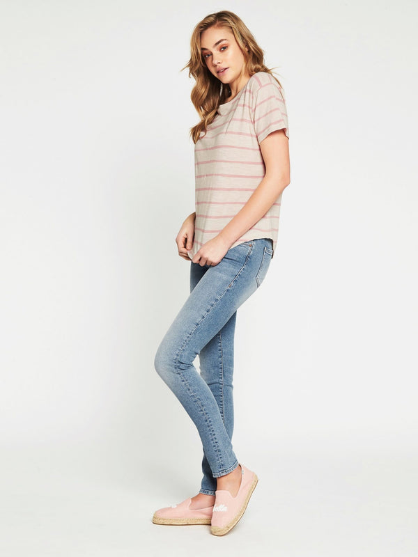Becky Short Sleeve T-Shirt Turtle Dove Rose Stripe - Mavi Jeans