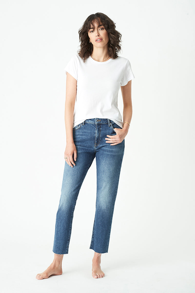 Viola Straight Jeans in Dark Vintage Blue Denim