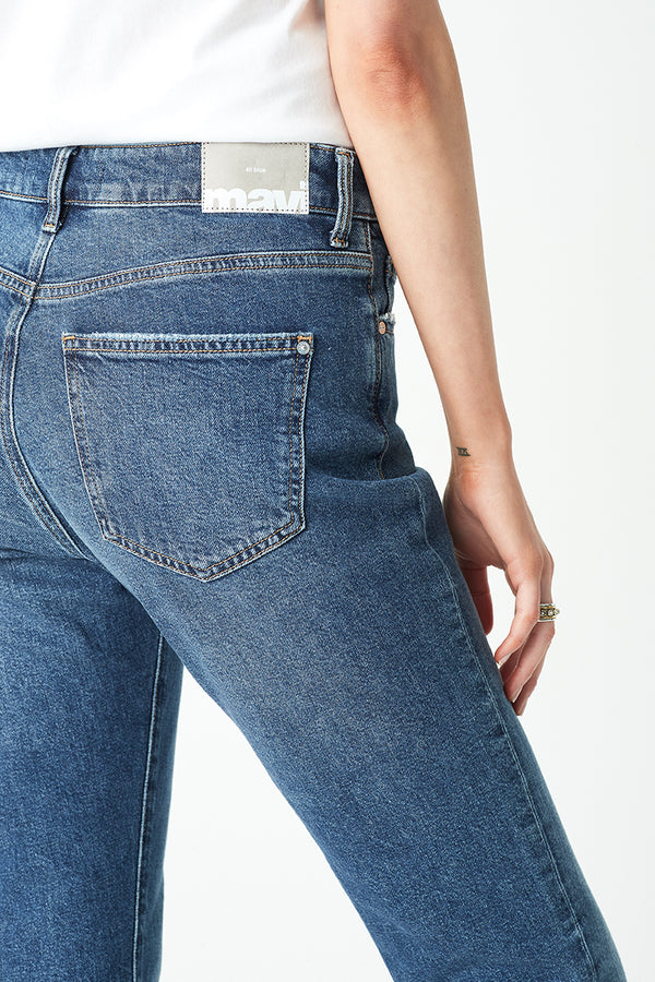 Viola Straight Jeans in Dark Vintage Blue Denim - Mavi Jeans