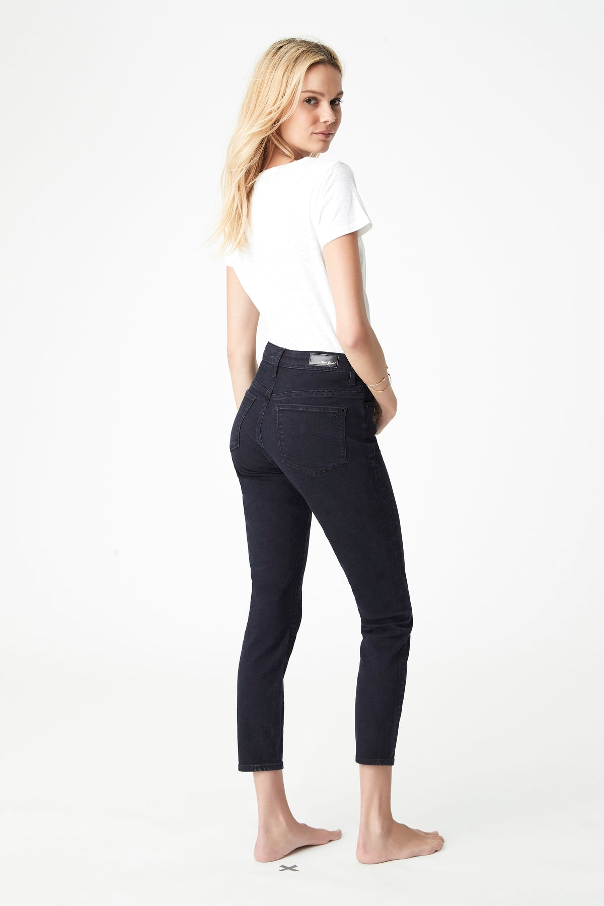 Alissa Ankle Skinny Jeans in Ink Gold
