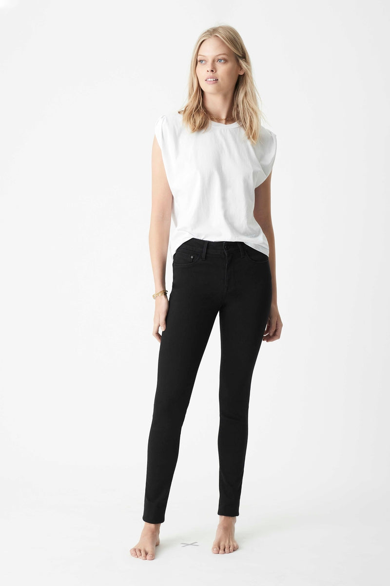 Alissa Skinny Jeans in Black Brushed Supersoft