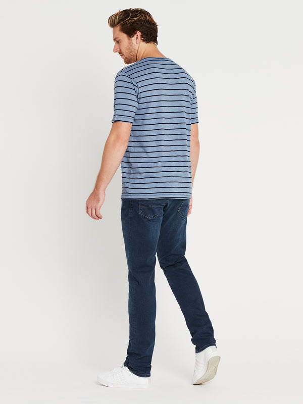 Liam Short Sleeve T-Shirt Steel & Navy Stripe - Mavi Jeans