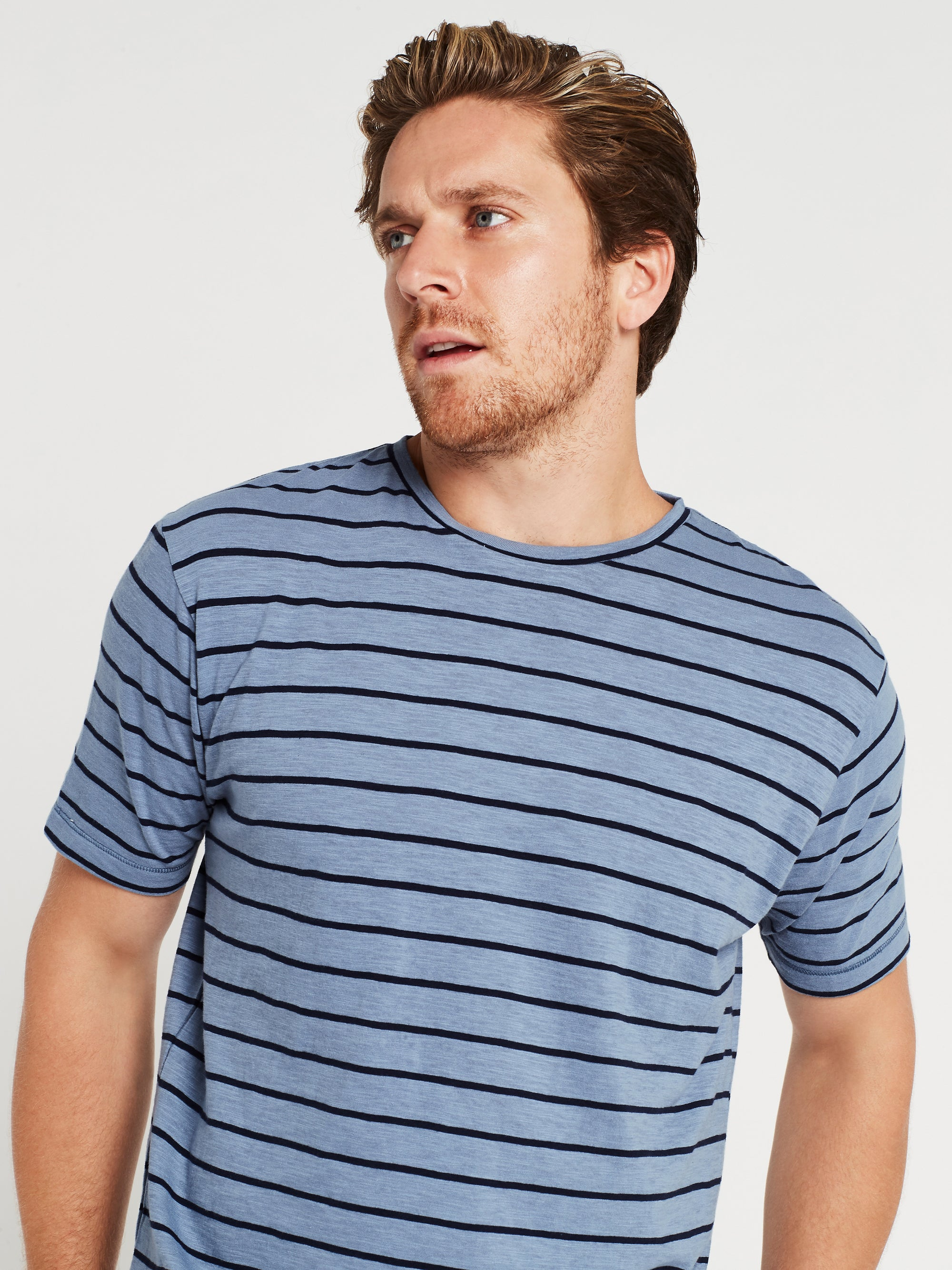 Liam Crew Neck T-Shirt in Steel & Navy Stripe
