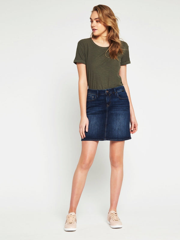 Alice A Line Denim Skirt in Indigo Gold - Mavi Jeans