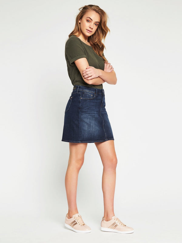 Alice A Line Skirt in Indigo Gold - Mavi Jeans