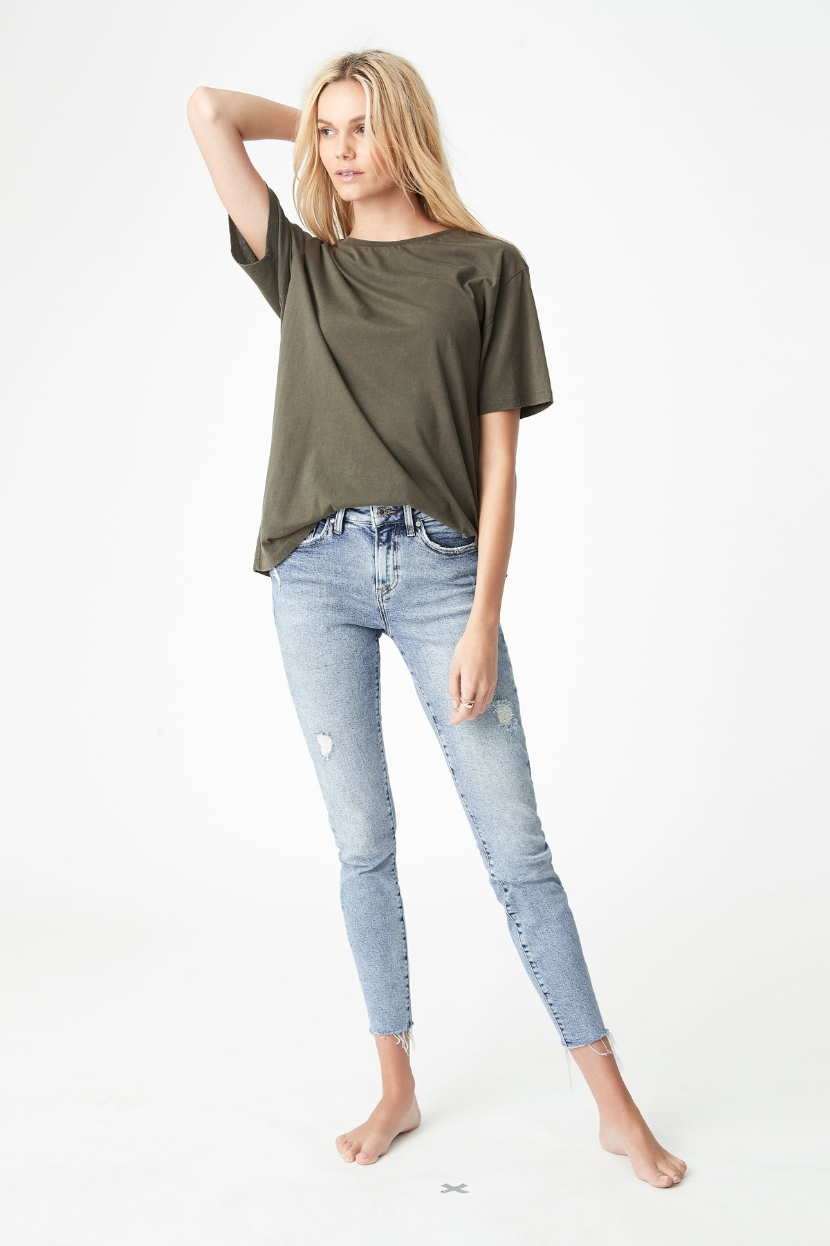Alissa Ankle Skinny Jeans in Light Ripped Rigid