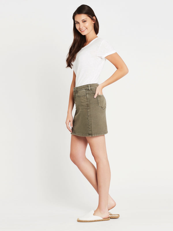 Alice A Line Skirt in Fatigue Washed Sporty - Mavi Jeans