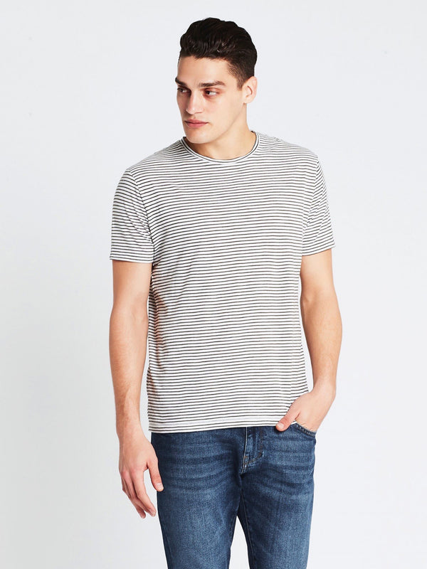 Liam Crew Neck T-Shirt in Natural Military Stripe - Mavi Jeans